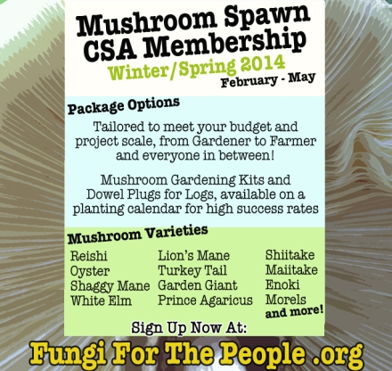 Mushroom Spawn CSA | Winter / Spring 2014
